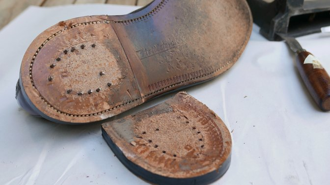 Vintage leather outsole and heel
